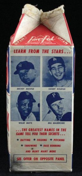 1964 Meadow Gold Carton Mantle Koufax Mays Mazeroski